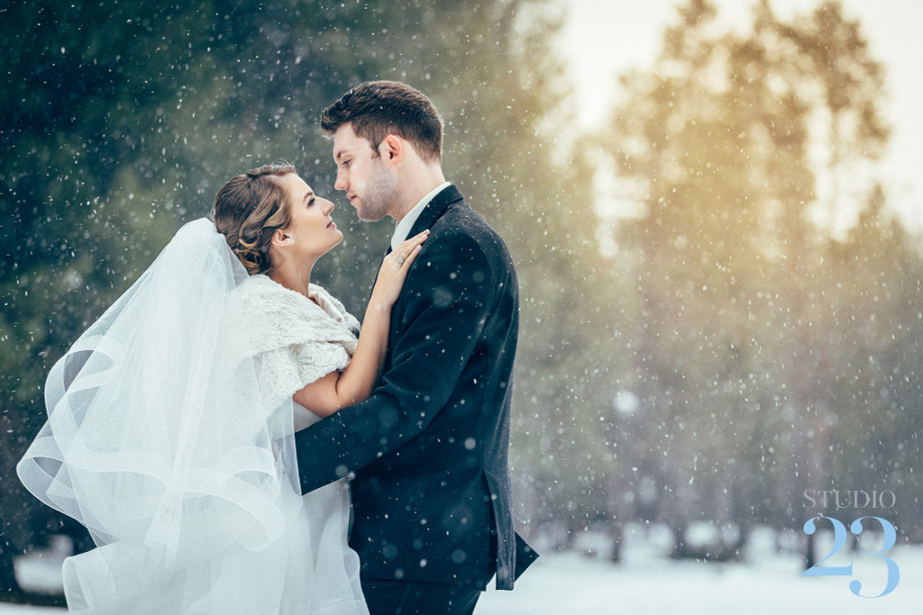 A photo of a wedding in the snow taken on a Canon 5D Mark IV